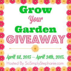 Blog Opp ~ Grow Your Garden Giveaway Sign Ups :    Spring is just around the corner and what better way to kick-off the growing season than with a mega garden giveaway!  There will be multipl... ~  http://www.singlemommies.net/2015/03/blog-opp-grow-your-garden-giveaway-sign-ups/