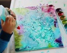 Kinder Painting with Watercolors, Glue and Salt - Preschool Art Activity Diy Projects To Try, Crafts To Do, Projects For Kids, Art Projects, Crafts For Kids, Arts And Crafts, Quick Crafts, Art Diy, Preschool Art