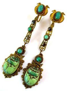 RARE ART DECO NEIGER Czech EGYPTIAN REVIVAL SCARAB SERPANT PEKING GLASS EARRINGS | eBay