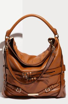 Burberry Belted Lambskin Leather Hobo Purse