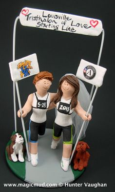 Lesbian Marathon Runners Wedding Cake Topper  who doesnt want to be healthy and spring around like a jungle cat ??...as opposed to loafing around like a big bear..?..( i love bears too)......anyways....these young ladies do not balk at the idea of a 26 mile jaunt to the altar... $235#lesbian#same_sex#gay#rainbow#2_brides#two_brides#wedding #cake #toppers  #custom #personalized #Groom #bride #anniversary #marathon#joggers#runners#birthday#wedding_cake_toppers#cake_toppers#figurine#gift