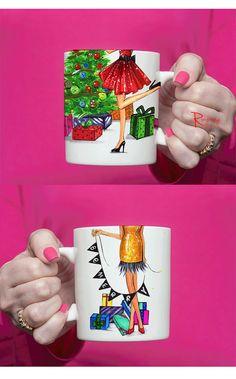 Christmas Coffee Mug by RongrongIllustration  Great gift for coffee lover as Christmas gift. More fashion mugs on www.rongrongillustration.etsy.com