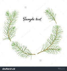 Simple And Cute Pine Branches Wreath. Vectorized Watercolor ...
