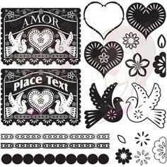 Papel Picado Digital Clip Art Banner Love Hearts Bird Floral Flowers Scalloped Lace Borders Design Elements Vintage Black DIY Wedding 10219 on Etsy, $6.70