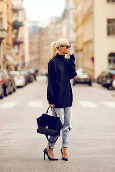 Black oversized sweater. Boyfriend jeans. Black heels.