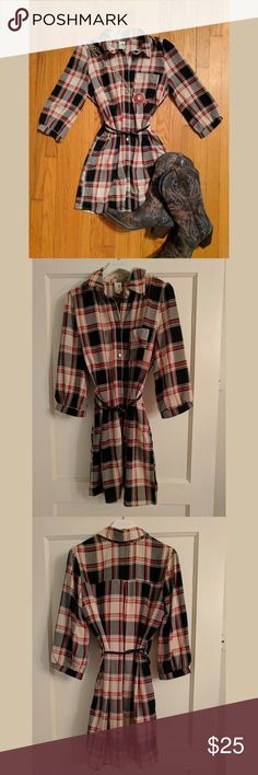 Gorgeous Plaid Dress Pink Owl plaid dress with 3/4 sleeves.  This is a perfect dress for game day.  Only worn once.  Boots also available in my Poshmark closet. Pink Owl Dresses Mini