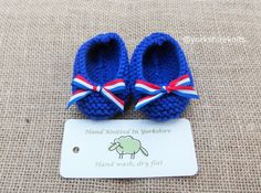 Hand Knitted Baby Bootees Slippers Booties 4th July USA, France Flag Baby Shower New Baby Patriotic Ready to Ship Worldwide from UK. Blue by HandKnittedYorkshire on Etsy