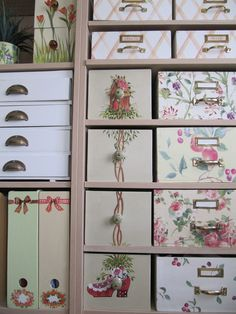 beautiful boxes to organize everything. who wouldn't want to spend the day playing in their closet as lovely as this? Craft Room Storage, Craft Organization, Diy Storage, Craft Rooms, Dyi Crafts, Space Crafts, Pretty Box, Altered Boxes, Sewing Rooms