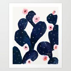 Cactus Bloom Midnight Art Print  by Crystal Walen