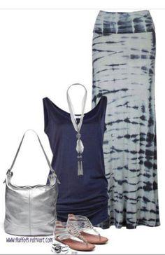 Navy blue silver & tie dye
