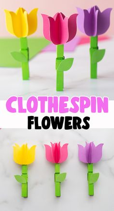 Clothespin Flower Craft 🌷 - such a fun spring craft for kids! Free printable template available on the post. Mothers Day Crafts For Kids, Spring Crafts For Kids, Craft Projects For Kids, Paper Crafts For Kids, Crafts For Kids To Make, Easy Crafts For Kids, Preschool Crafts, Easy Diy Crafts, Toddler Crafts