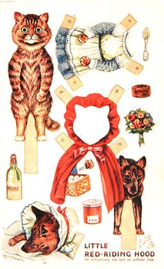 Little Red Riding Hood Paper Dolls, With Cats