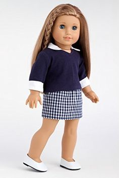 School Girl - Navy blue blouse with plaid skirt and white shoes - 18 Inch American Girl Doll Clothes  Price : $21.97 http://www.dreamworldcollections.com/School-Girl-blouse-American-Clothes/dp/B004OTACII