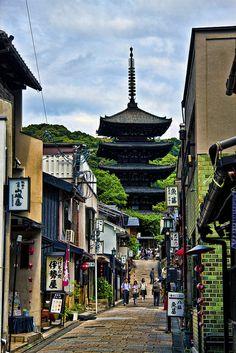Kyoto, near Kyomizudera, Japan. I love the architecture of Asia