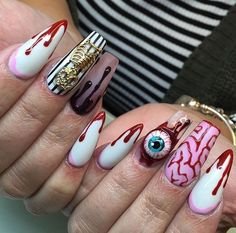 Horror nails. Are you looking for easy Halloween nail art designs for October for Halloween party? See our collection full of easy Halloween nail art designs ideas and get inspired!