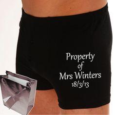 Personalised boxer shorts groom wedding gift 2nd wedding anniversary present