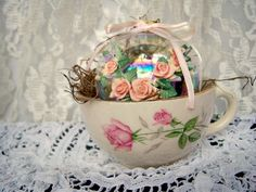 Easter, Vintage Ornament packaged in Vintage Teacup, Spring gift