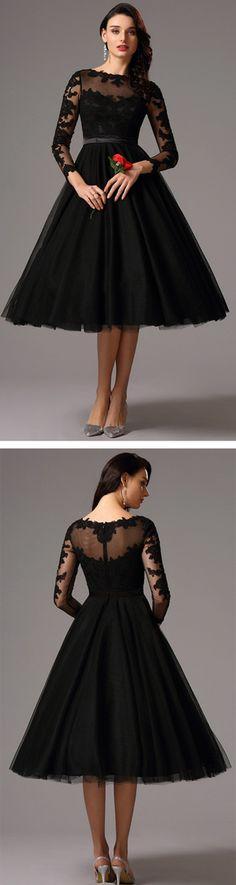 eDressit Long Lace Sleeves Tea Length Black Cocktail Dress