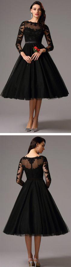 eDressit Long Lace Sleeves Tea Length Black Cocktail Dress