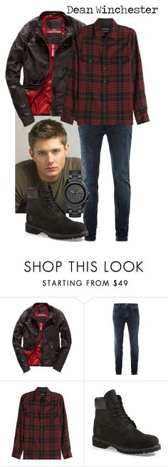 """Dean Winchester's Style"" by carolrnunes ❤ liked on Polyvore featuring Superdry, Topman, Alexander McQueen, Timberland, FOSSIL, men's fashion, menswear, plaid, contestentry and WardrobeStaples"