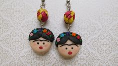 Love Frida Kahlo/cute earrings. Frida Kahlo Polymer clay earrings by michellejewelry on Etsy, $22.00