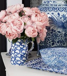 Two of my favorite things! Light pink peonies and blue and whites