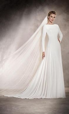 Blush Bridal has an extensive collection of wedding dresses from Pronovias, including Anabel. Modest Wedding Dresses, Bridal Dresses, Wedding Gowns, Tan Wedding, Dresses Dresses, Dream Dress, I Dress, Pronovias Wedding Dress, Muslim Brides