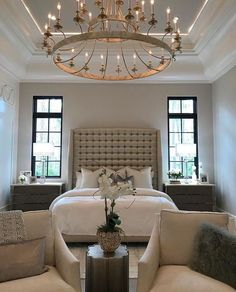 While glittering living rooms and blinding entryways are often the rule, Luxury Master Bedroom interior design is more restrained. Master Bedroom Interior, Dream Bedroom, Home Decor Bedroom, Master Bedrooms, Bedroom Furniture, Bedroom Table, Master Room, Bedroom Inspo, Master Suite