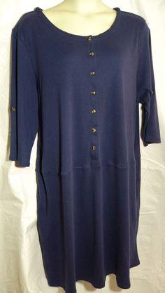 Womens Plus Knit Dress Size 3x Midnight Blue Drop Waist Roll-up sleeve #WomanWithin #Knitdress #Casual