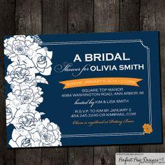 Printable Bridal Shower Invitation, Corner Roses Peony Flower Elegant Formal Navy Blue Carrot Orange Grey Mustard Yellow Aqua Blue on Etsy, $16.50