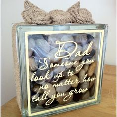 Vinyl lettering on glass block, filled with pebbles and decorated with burlap. Made for my Dad's 70th. Great Father's Day gift too. Check out Vinylumptious Gifts on Facebook.