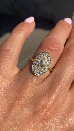 Oval diamond mosaic ring by berlinger jewelry Marquise Diamond, Oval Diamond, Rose Cut Diamond, Diamond Rings, Vintage Inspired Engagement Rings, Halo Engagement Rings, Lab Diamonds, Round Diamonds, Vintage Rings