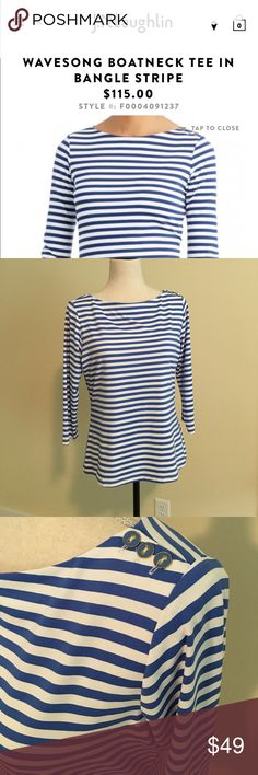 J. McLaughlin Wavesong Boatneck Tee Bangle Stripe NWOT. Nylon/spandex. Three buttons on left shoulder. Nonsmoking home. Please see my other listings. J. McLaughlin Tops Tees - Long Sleeve