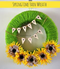 Springtime Yarn Wreath - This Girl's Life Blog