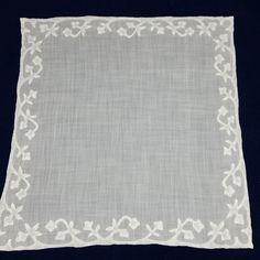 Vintage Ladies Handkerchief White Shadow Applique Hemstitched Hankie Hanky #Unbranded #ShadowAppliqueHemstitched