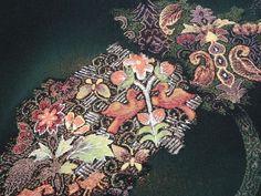 Japanese Vintage Kimono, HAORI, SILK, Black, Gorgeous Bird&Flower P091118