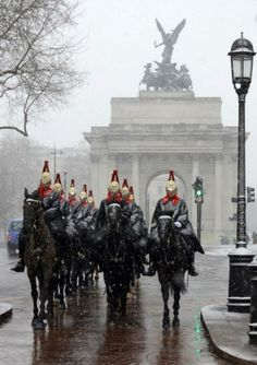 The Blues and Royals crossing over Hyde Park Corner.