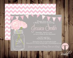 BABY GIRL Baby Shower Invitation, baby shower invite, mason jar baby shower, mason jar, flowers, baby,pink, front and back on Etsy, $12.99