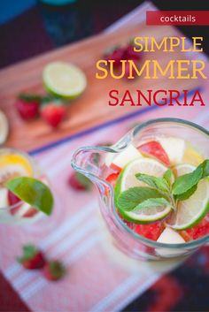 The tastes of summer are still lingering and we have no intention of letting them go anytime soon. If you too are a wine lover, we have a simple sangria that is the perfect go-to for any occasion, big or small, that will leave any mouth happy. With minimal ingredients, this will leave you all sorts Summer Sangria, Summer Drinks, Martini Mix, Welcome To My House, Wine Lover, Yummy Treats, Delish, Cocktails, Minimal