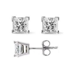 Princess Cut Diamond Stud Earrings (Screw Backing) 0.66 carats, D Color, VVS2 Clarity- 14k Yellow or White Gold (Jewelry)