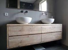 Afbeeldingsresultaat voor houten badkamermeubel met waskom