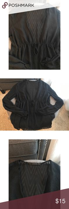 ZARA Black Blouse Size: S ZARA Black Blouse Size: Small  I wore this blouse out to a friends birthday celebration. I paired it with black distressed jeans, leather jacket, and I received so many compliments on the blouse! ❤️(Only Worn Once) Make an offer! 😊 Zara Tops Blouses