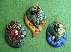 New Leaf Pendant and Pins by *MandarinMoon on deviantART