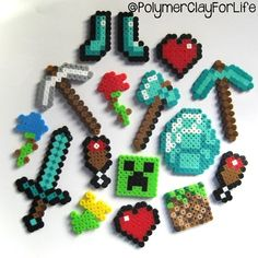 Minecraft perler bead Christmas ornaments