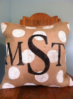 Triple Monogram Burlap Pillow by ModernRusticGirl