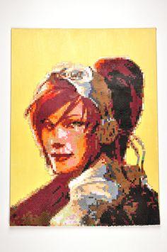 Starcraft Kerrigan Perler Bead Portrait Art on Canvas