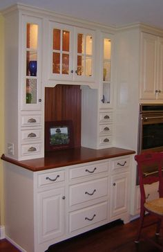 This Built In Hutch For A French Country Kitchen Adds Extra Storage E Linens Gles And Even Desk Materials