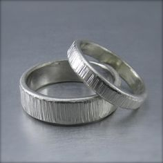 Tree bark wedding bands