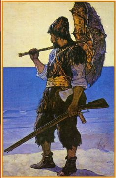 Robinson Crusoe illustration, 1920, N.C. Wyeth
