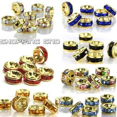 100pcs Premium Quality Czech Crystal Rhinestones  On Gold Rondelle Spacer Beads